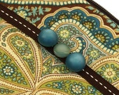 Green and Blue Paisley Wristlet Purse with Vintage Buttons and Upcycled Fabric