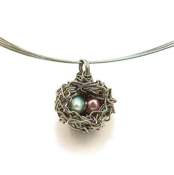 Mother's Day Bird Nest Necklace for a Mom with a Boy and a Girl