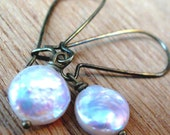 White Coin Earrings - Shimmer Freshwater Pearl Disc - Antiqued Brass
