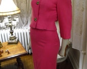 Hold for HillaryDiShop     Vintage 50's 60's Hot pink Wiggle Suit With Big Ornate Heavy Buttons