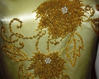REDUCED Vintage Rare 50's  60's Oriental Wedding Dress or Gown Possibly Ceremonial Amazing Hand Applied Bead Work