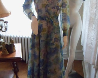 Vintage mid century 60's 70's Blue Floral Shear Chiffon Gown