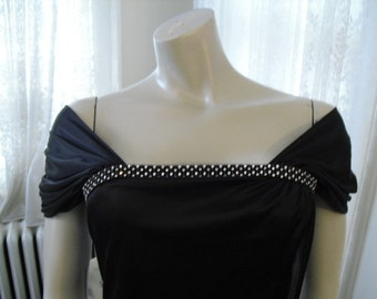 Vintage 70's Black Silky Rhinestone Gown With a 30's Revival Flair