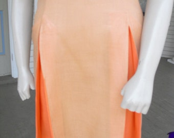 JUST REDUCED Vintage Tangerine Sherbet  Summer 50's Front Two tone Colored Pleats Dress
