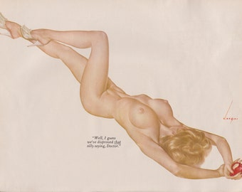 Rare Early 60's Vintage Vargas Pin Up Girl Playboy Picture NUDE