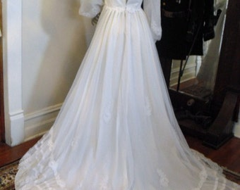 Vintage Chiffon Shear Lace with Sweetheart Neck Line and Long Flowing Train