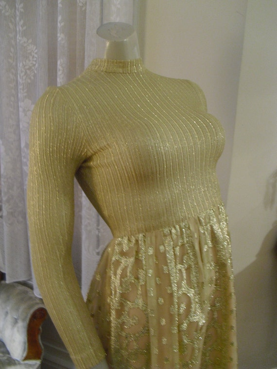 RARE   Vintage 60's 70's Gold Knit Shear Gown See Through With A Nude Colored Background
