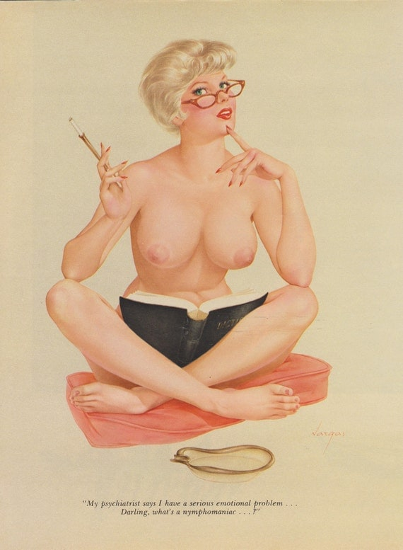 95#  Rare School Teacher or Student Vintage Vargas Pin Up Girl Nude Playboys