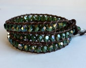 """SALE// Triple Wrap Bracelet / Green on Brown Leather// """"Dark Forest""""// In Stock // Ready to Ship"""