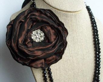 Dark Brown Ribbon Flower Hair Clip/Brooch