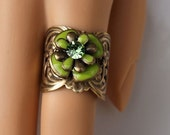SALE Ring - Spring Green Enamel and Swarovski Rhinestone Blooming Flower Adjustable Ring - FR139