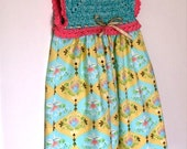 Toddler Sundress - Water Lillies Crochet Bodice Sundress - Size 2T (SUND106)
