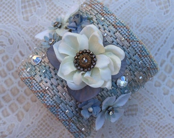 Bridal Wedding Needlepoint Wrist Cuff Bracelet - Something Blue For The Bride Needlepoint And Silk Flowers Wrist Cuff  Size 7.25 (W324)