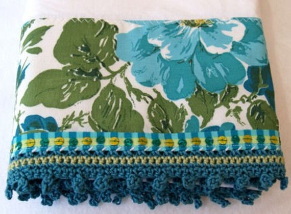 Crochet Edge Pillowcase - Vintage Watercolor Style Floral Fabric and Crochet Edge Pillowcase (PC127)