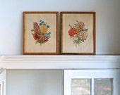 vintage flower prints in faux bamboo frames