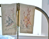RESERVED FOR ASHLEY vintage linen hand embroidered tropical fish finger towels