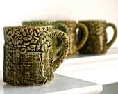 Vintage Green Ceramic Mugs Made in japan