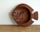 vintage carved wood fish bowl