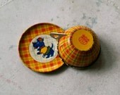 vintage scotty dog plaid tin toy cup & saucer