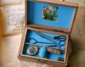 Victorian Sewing Box With Contents