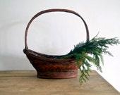 Reserved for Larry Vintage Large Handled Oval Gathering Basket