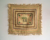 Reserved for Dina Antique Cross Stitch Sampler Dated 1932, Needle Arts, Handwork
