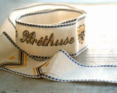 Vintage French Arethuse Silk Millinery Ribbon, Nautical, Embroidered Ribbon