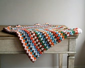 Vintage Crocheted Colorful Throw, Blanket, Striped, Handmade, Granny Chic, Cottage Decor
