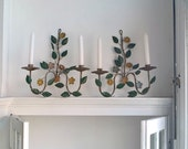 Reserved for Chiara  Antique Pair of Italian Toleware Iron Wall Sconces