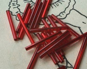 Vintage Long and Fabulous Ruby Red Bugle Beads