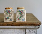 Antique Ceramic Shaker Set, 1940s Salt and Pepper Set, Cottage Chic, Farmhouse, Made in Japan,