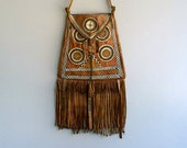 Vintage Moroccan Leather Bag with Fringe, Hand Stitched Tribal Cross Body Bag, Bohemian, Tribal,