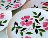 6 pink flower plates