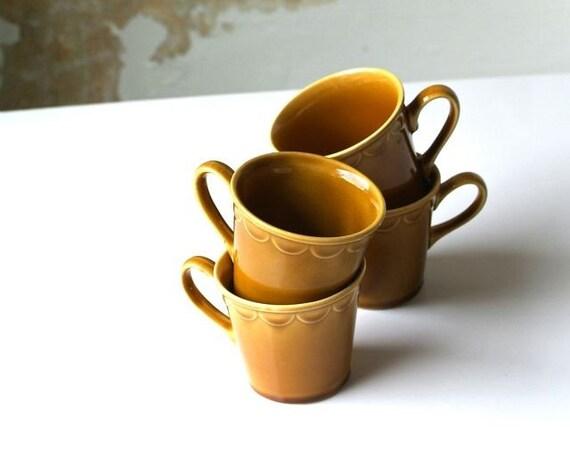 honey amber glazed ceramic cups