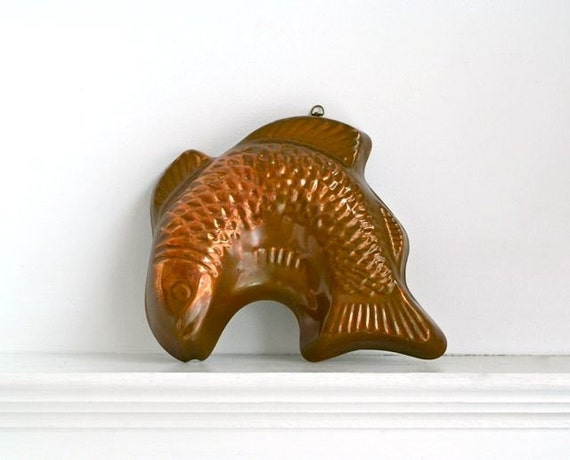 vintage copper fish mold