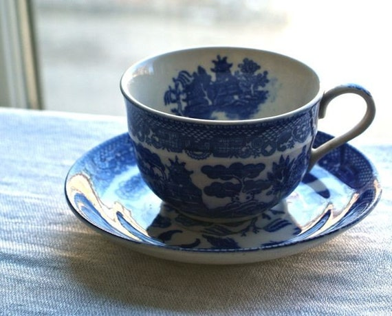 antique blue willow tea cup and saucer