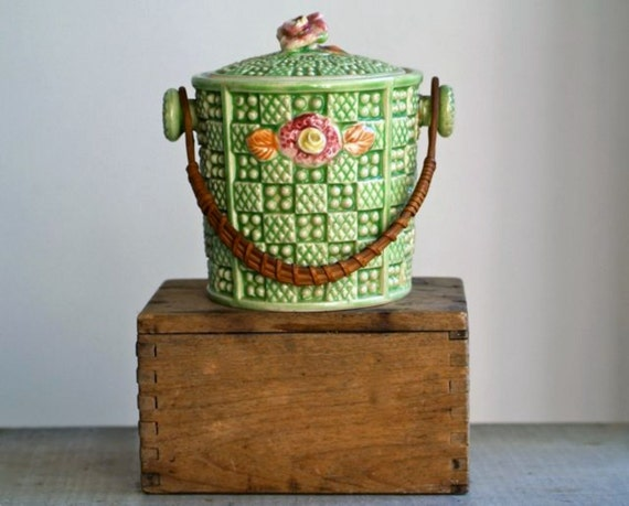 antique japanese majolica lidded canister
