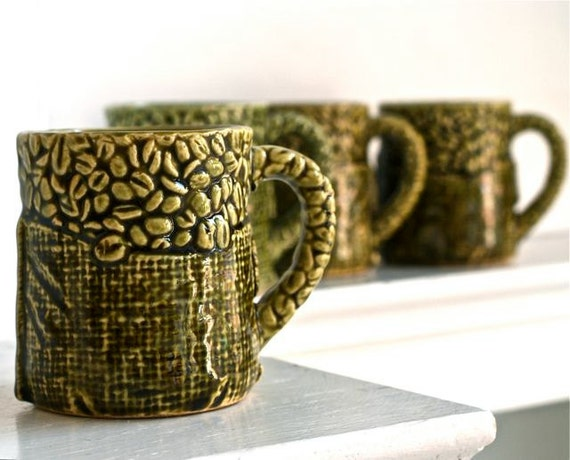 Vintage Green Ceramic Mugs Made in japan