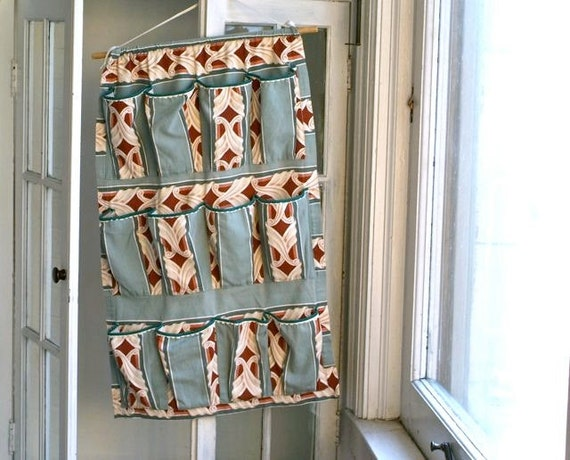 vintage handmade hanging barkcloth fabric shoe storage rack