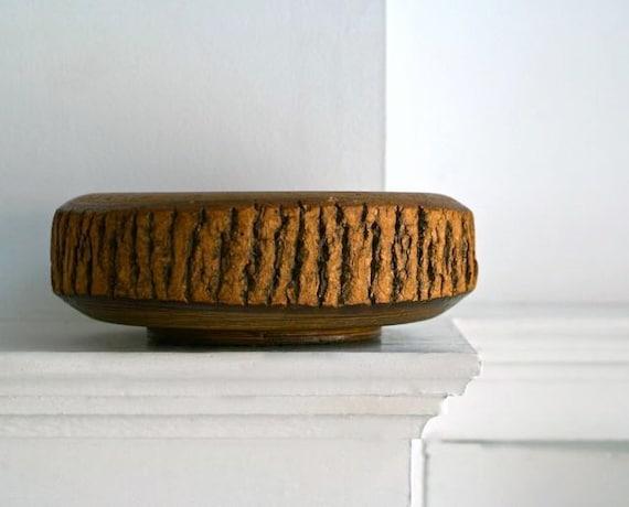 Vintage Bark and Turned Wood Serving Bowl