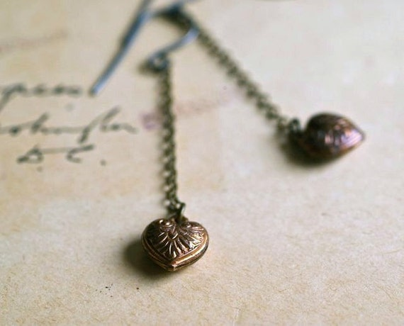 Romantic Copper Heart Dangle Earrings