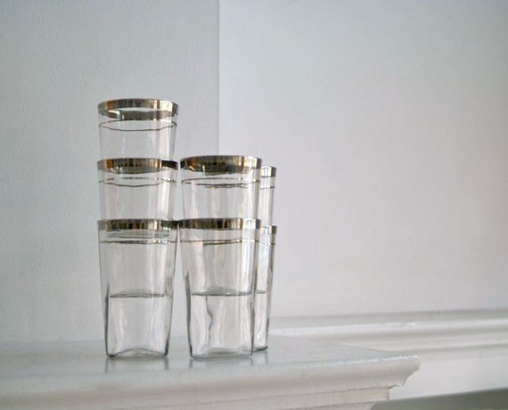 Silver Banded Juice Tumblers