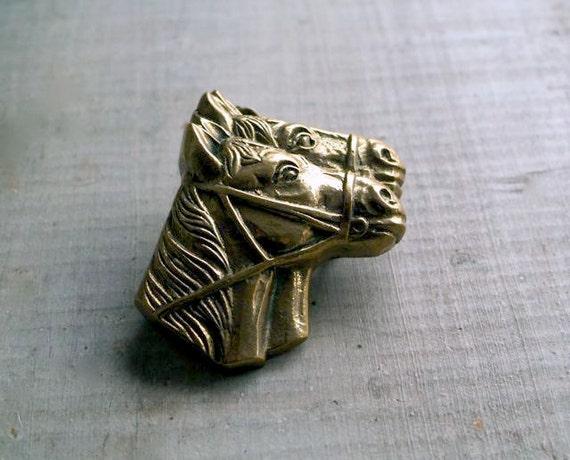 Vintage Brass Horse Heads Belt Buckle, Western Wear, Equine Fashion