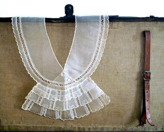 Reserved for Elizabeth Antique Cotton Organdy Collar Jabot, Vintage Fashion Accessory