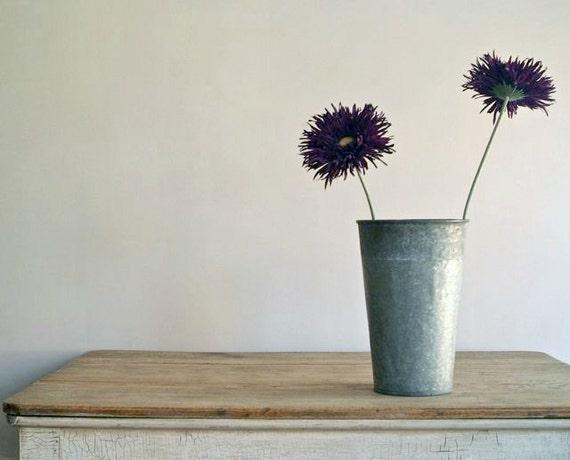 Vintage Rustic Galvanized Maple Syrup Bucket  -- Planter/Vase