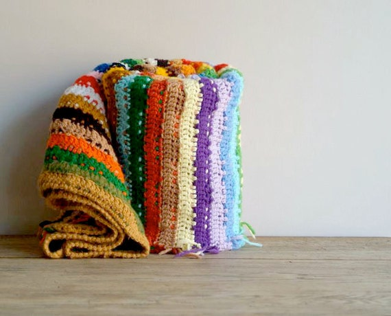 Vintage Hand Crocheted Sriped Throwt, Handmade Blanket, Granny Chic Cottage Throw, Needle Arts