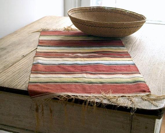 Vintage Handwoven Southwestern Rug, Saltillo Rug, Chimayo Rug, Tribal Runner,  Rustic Wall Hanging