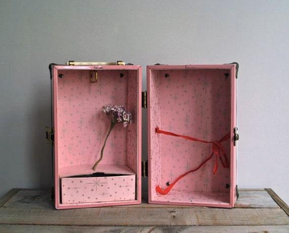 Vintage Pink Metal Doll Trunk