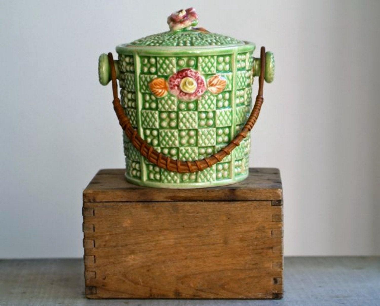 Antique Japanese Majolica Lidded Canister