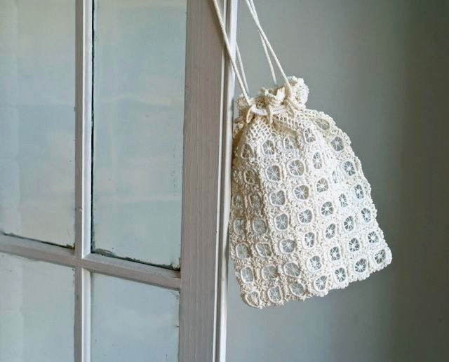 Crochet Drawstring Bag : antique crochet drawstring bag by 5gardenias on Etsy
